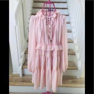 Nasty Gal boho style baby pink mini dress. Size M